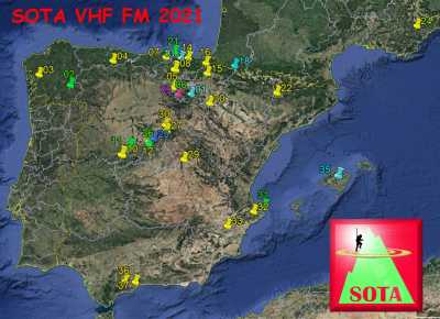 SOTA VHF DX Map earth