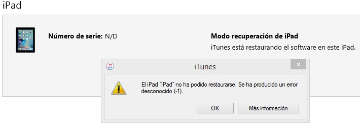 error ITUNES IPAD f